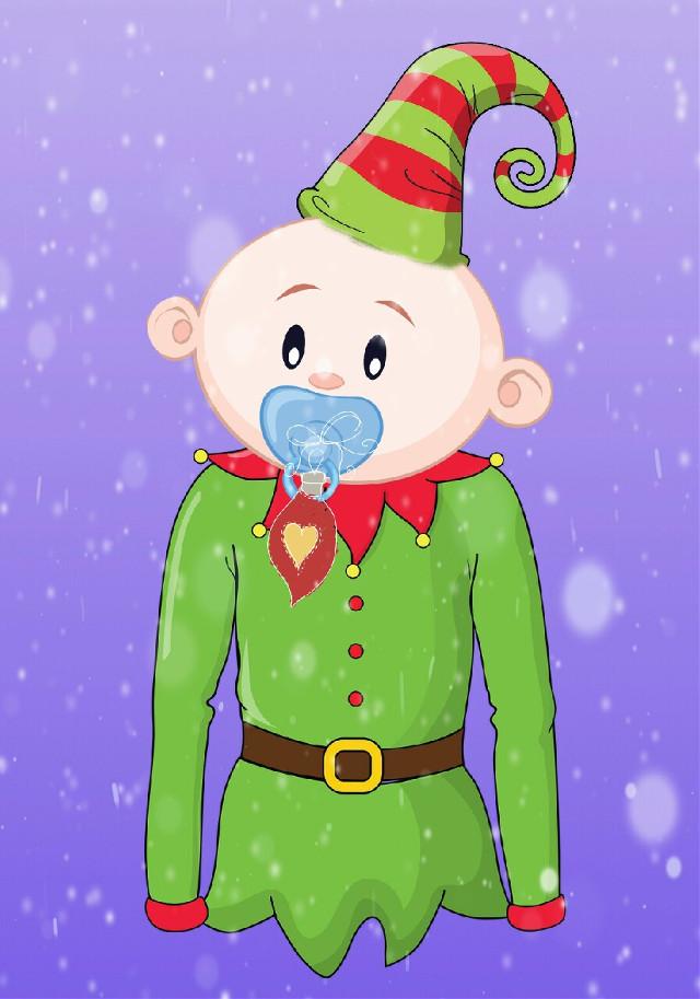 #FreeToEdit #elf #cute #baby #buddyelf #cottonheadedninimuggins #snowflakes #snoweffect