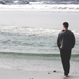 photography beach waves ocean man freetoedit