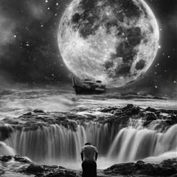 frightening moon sea man tired freetoedit