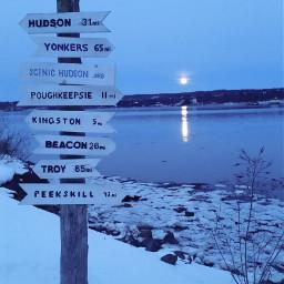 moon hudsonriver snow freetoedit
