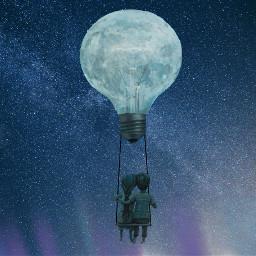 freetoedit moon hotairballoon northernlights sky