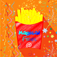 freetoedit fries birthday baby colorful