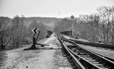 railway blackandwhite track nature